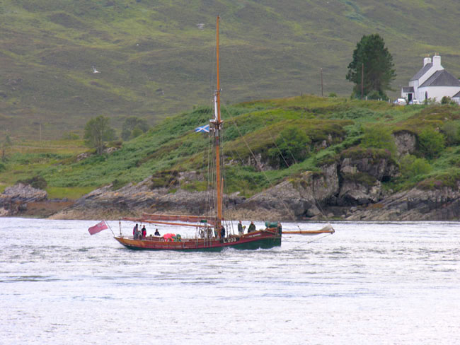 Sailing boat on the narrows in front of the Inn